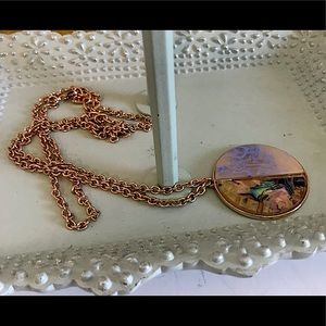 SUGARFIX Golden Chain With Round Pendant Necklace